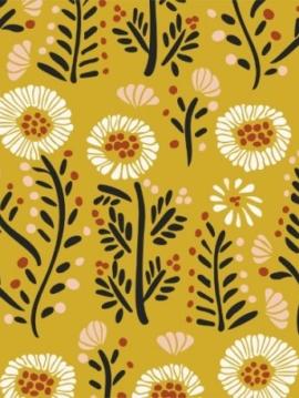 tissu-coton-biologique-fanciful-dancing-petals-moutarde