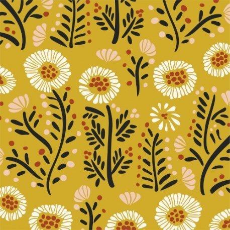 Popeline fleurs moutarde