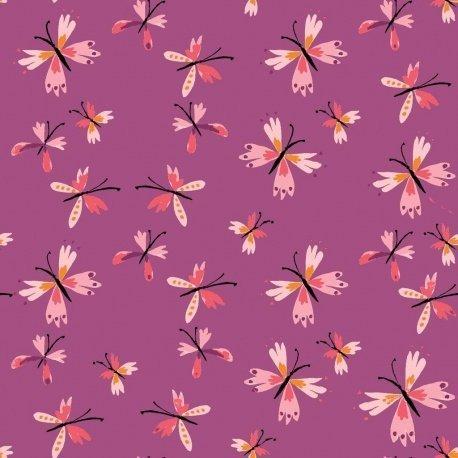 Popeline papillons violet